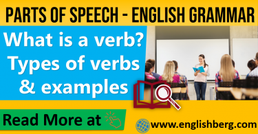 what is a verb, Types of verbs and examples grammar parts of speech of verb