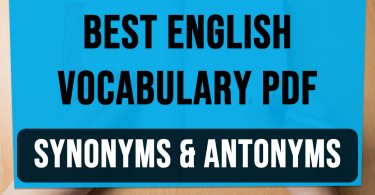 Best English Vocabulary Synonyms and Antonyms with pdf
