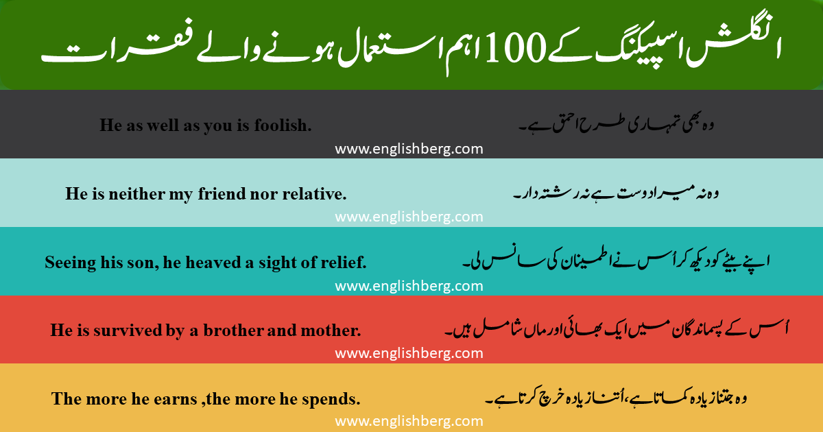 Click here 100 English to Urdu Sentences for Spoken English   1000 English sentences pdf